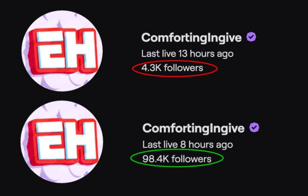 Twitch Followers comparison before and after using streamupgrade twitch growth service