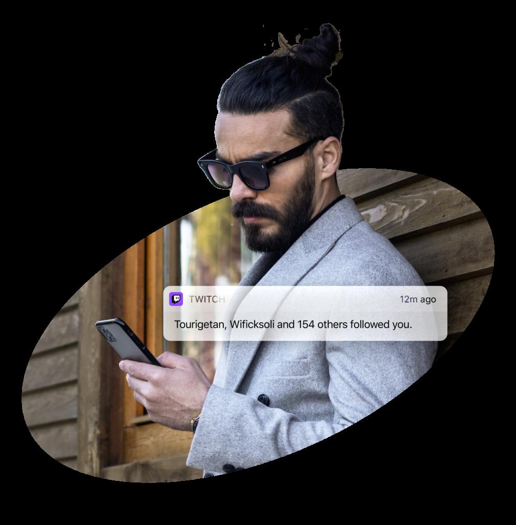 Twitch man - notification about new Twitch followers