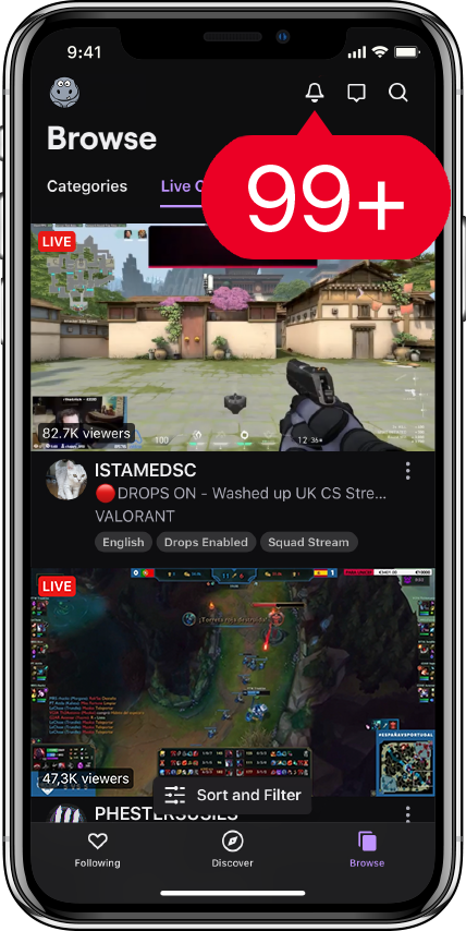 Twitch Phone 99+ new notifications - Twitch Followers
